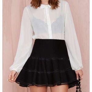 JOA Black Flounce Miniskirt
